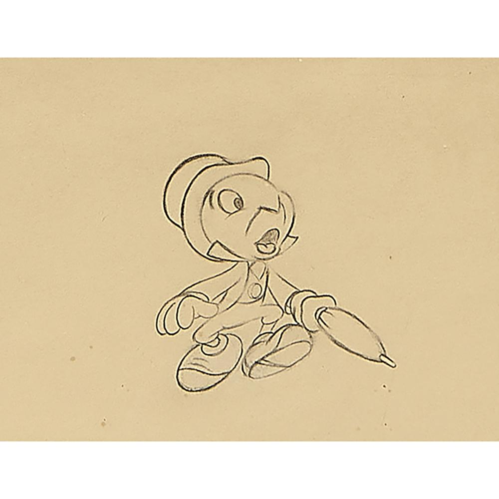 After Walt Disney, (American, 1901-1966), Jiminy Cricket cel and sketch from Pinocchio, 1939 (two works), paint on celluloid; pencil...
