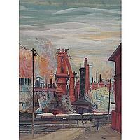 "Rudolph T. Pen (American, 1918-1989)""Industrial Scene,"""