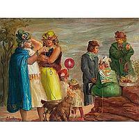 "Glen Ranney (American, 1896-1959) ""Women Visiting"""