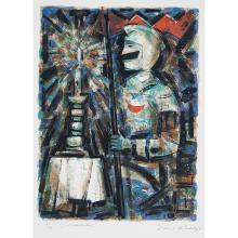 "Emil Weddige, (Canadian, b. 1907), Crusader, color lithograph, 21"" x 15 1/2"""