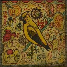 """Tony Fitzpatrick, (American, b. 1958), The Conjured Bird, 1993, color etching and aquatint, 4"""" x 4"""""""