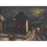 Harry Shoulberg, Street Scene, oil