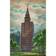 "Tom Hill, (American, b. 1925), Montgomery Ward Building, 1949, watercolor, 29"" x 19"""