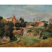 """Andre Hebuterne, (French, 1894-1979), Landscape, oil on canvas, 13"""" x 16.25"""""""