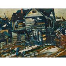 "John Grabach, (American, 1886-1981), Time, oil on panel, 12"" x 16"""