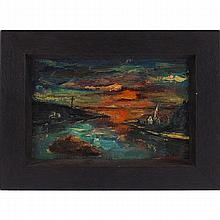 """Harry Shoulberg (American, 1903-1995) """"Landscape,"""" oil on canvas, 8"""" x 12"""", signed lower right, framed"""
