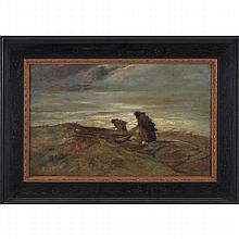"Frans Smissaert (Dutch, 1862-1944) ""Peasants,"" oil on canvas, 13.5"" x 21.5"", signed lower right, framed"