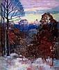 "Lawrence McConaha (American, b.1894), ""Early Snow, Richmond, Indiana"", c.1920; oil/board,"