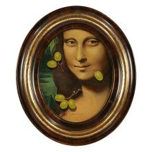 """Helen Berland, (American, 20th century), Mona Lisa with Green Grapes, oil on panel, 9.5"""" x 7.5"""""""