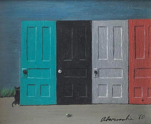 """Gertrude Abercrombie (American, b.1909), """"Doors"""", c.1960; oil/masonite, 4"""" x 5"""", signed and dated;"""