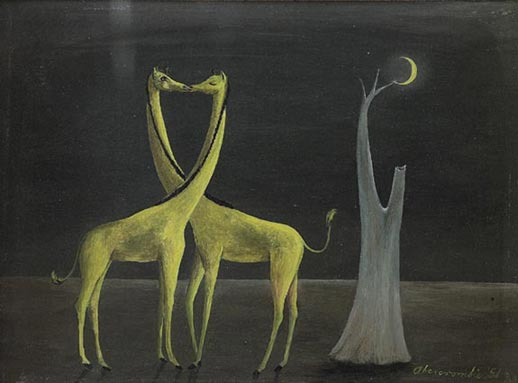 """Gertrude Abercrombie (American, b. 1909), """"Giraffes"""", c.1951; oil/board, 7.75"""" x 5.75"""", signed and dated."""