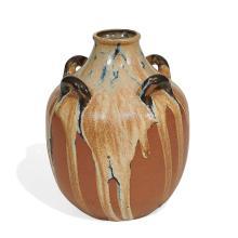 """Auguste Delaherche (1857-1940) four-handled vase, shape number 3496 7 1/2""""dia x 9""""h"""