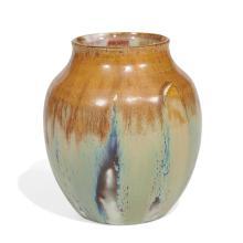 """Auguste Delaherche (1857-1940) vase 4 1/2""""dia x 4 3/4""""h"""