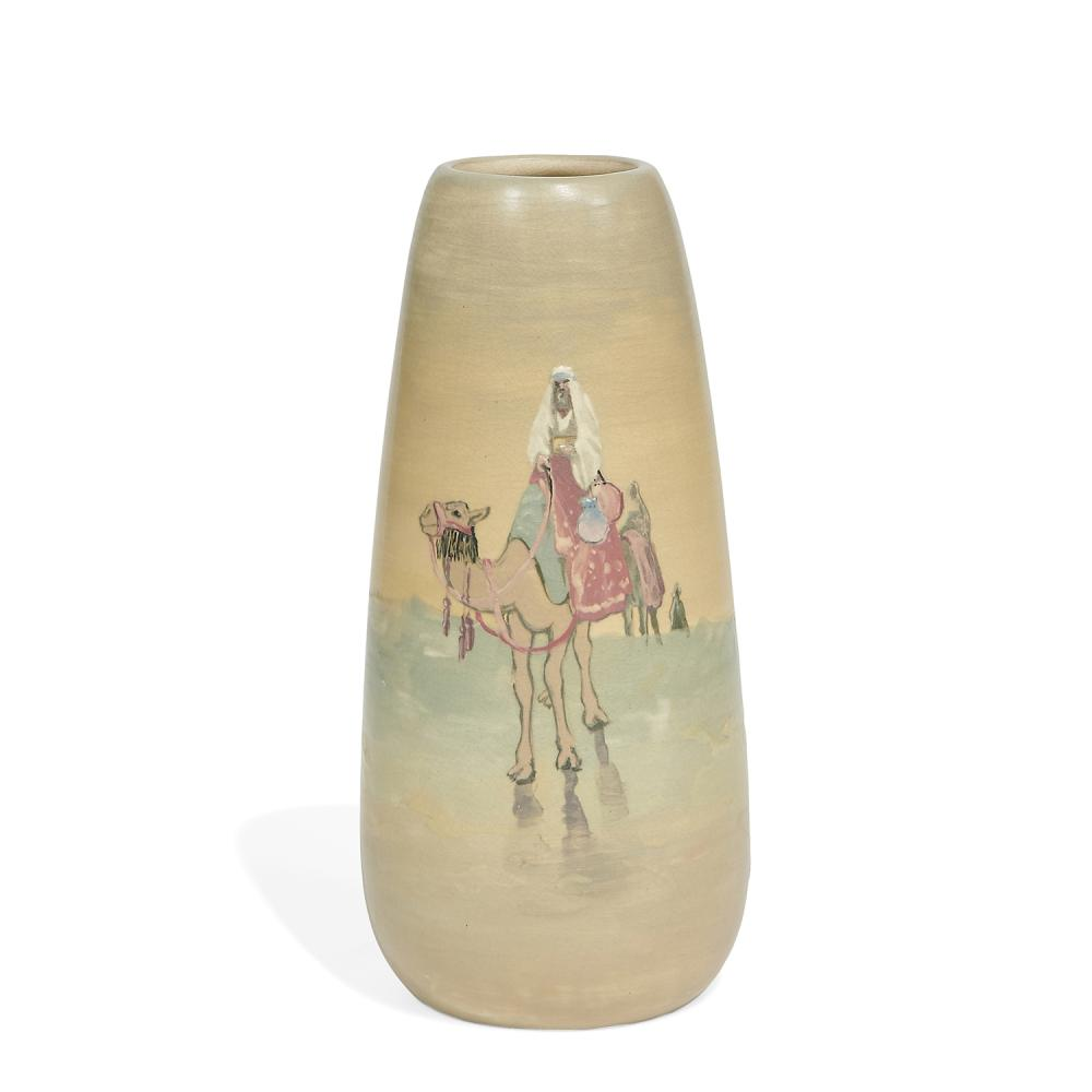 """Weller Pottery Co. rare earthenware Hudson scenic vase showing three camels with riders moving through deep sand 3 7/8""""dia x 8 1/2""""h"""