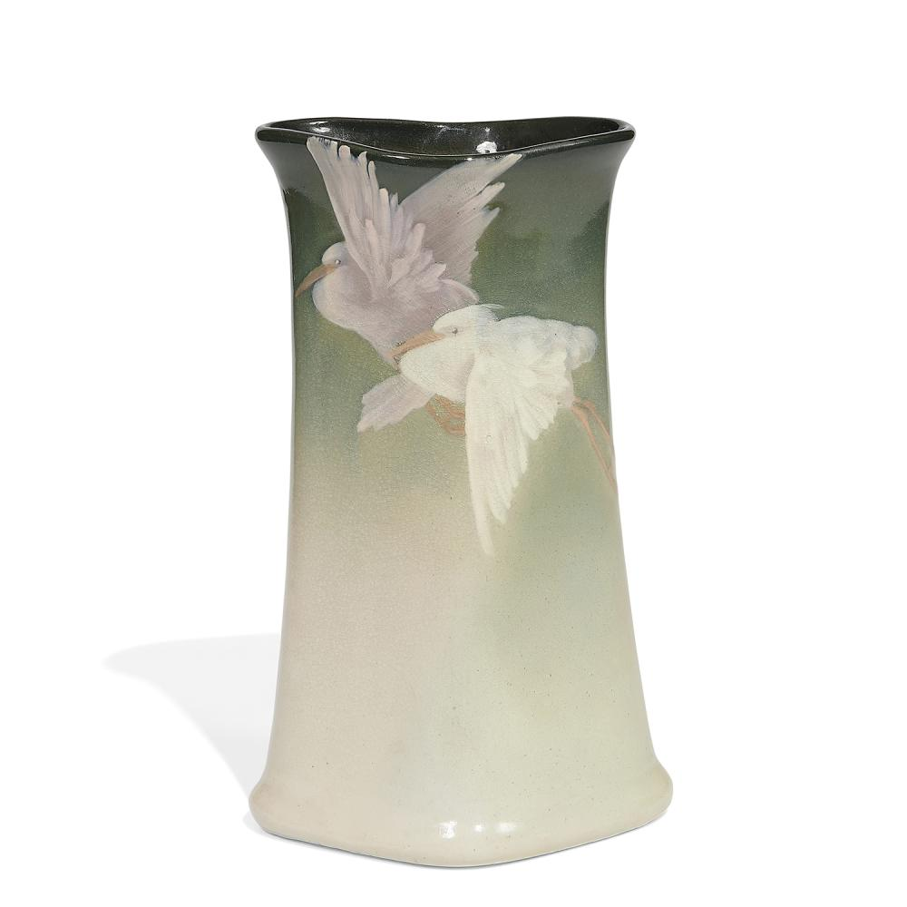 """Frank Ferrell (1878-1961) for Weller Pottery Co. earthenware Eocean vase with two flying cranes 6 1/8""""w x 5""""d x 10 1/8""""h"""