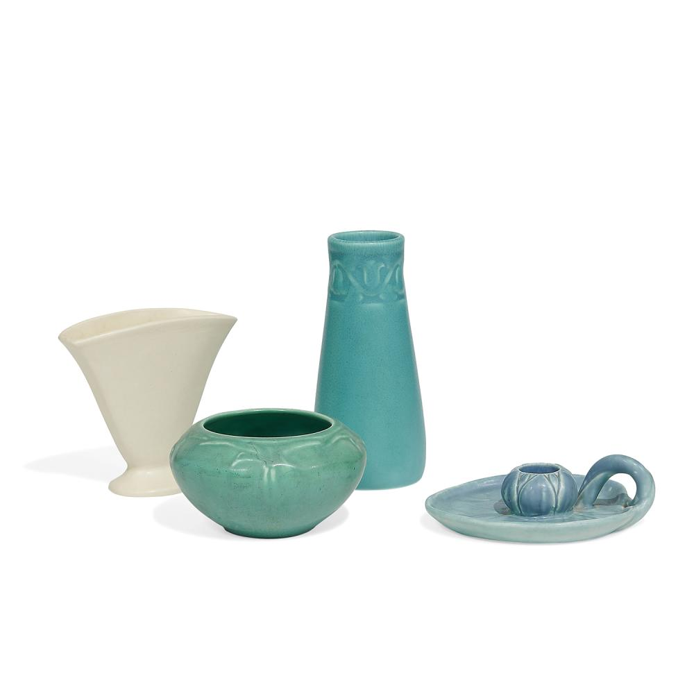 """Rookwood Pottery group of matte glazed ceramic items, four: tallest: 2 7/8""""dia x 6 1/4""""h"""