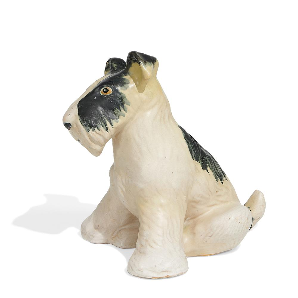 """Weller Pottery Co. earthenware seated wire fox terrier / dog figure 9 1/2""""w x 11 1/8""""d x 11 5/8""""h"""