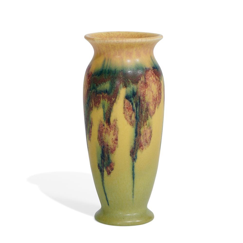 """Elizabeth N. Lincoln (1876-1957) for Rookwood Pottery porcelain vase with hanging blossom decoration, shape number 2721 2 5/8""""dia x..."""
