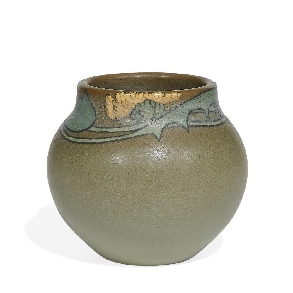Anna Marie Valentien (1862-1947) for Rookwood Pottery earthenware Vellum glaze bowl with dandelion decoration, shape number 911E 4 3...