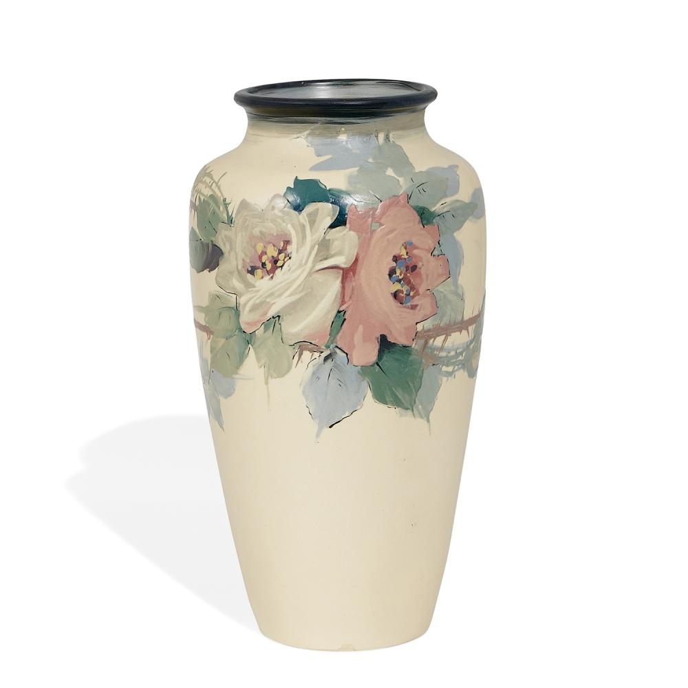 """Weller Pottery Co. White and Decorated earthenware vase with stylish rose decoration 7""""dia x 13 1/8""""h"""