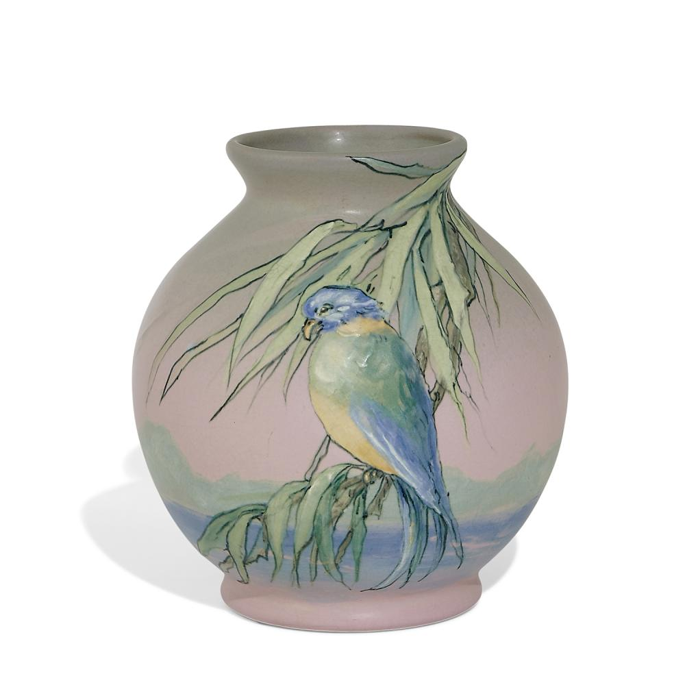 Sarah Reid McLaughlin (1872-1939) for Weller Pottery Co. earthenware Hudson vase showing a parakeet in a eucalyptus tree with hills...
