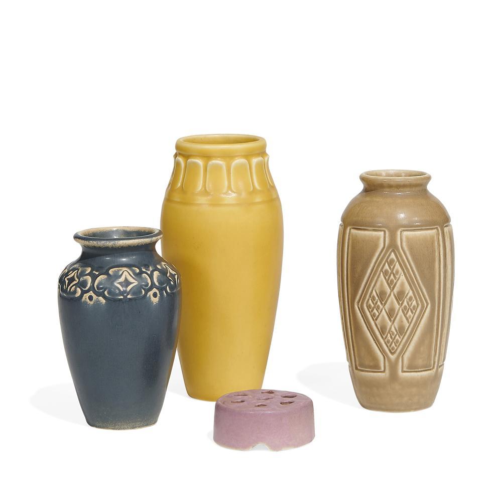 "Rookwood Pottery group of matte glazed ceramic vases, four: tallest: 3 1/8""dia x 6 7/8""h"