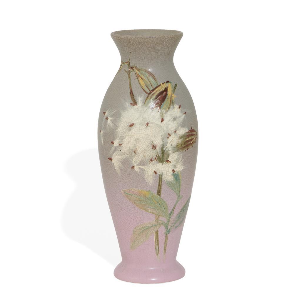 "Hester Pillsbury (1858-1951) for Weller Pottery Co. earthenware Hudson vase with milkweed decoration 5""dia x 13""h"