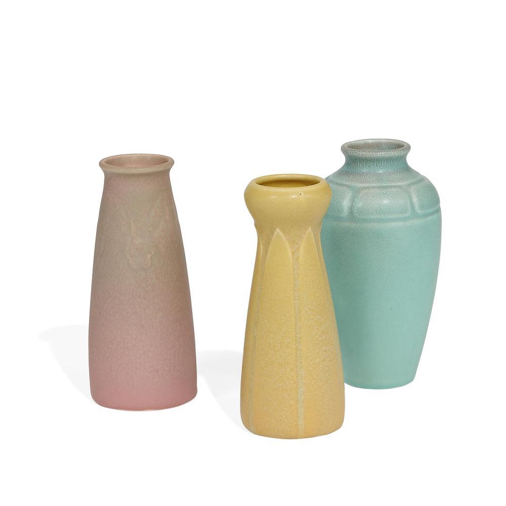 "Rookwood Pottery group of matte glazed ceramic vases, three: tallest (blue): 3 1/8""dia x 6 1/4""h"