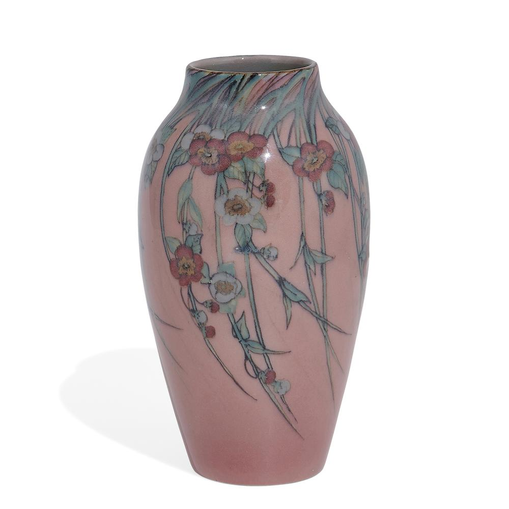 """Sara Sax (1870-1949) for Rookwood Pottery porcelain vase with trailing cherry blossom decoration, shape number 900D 3 1/2""""dia x 6 7/..."""