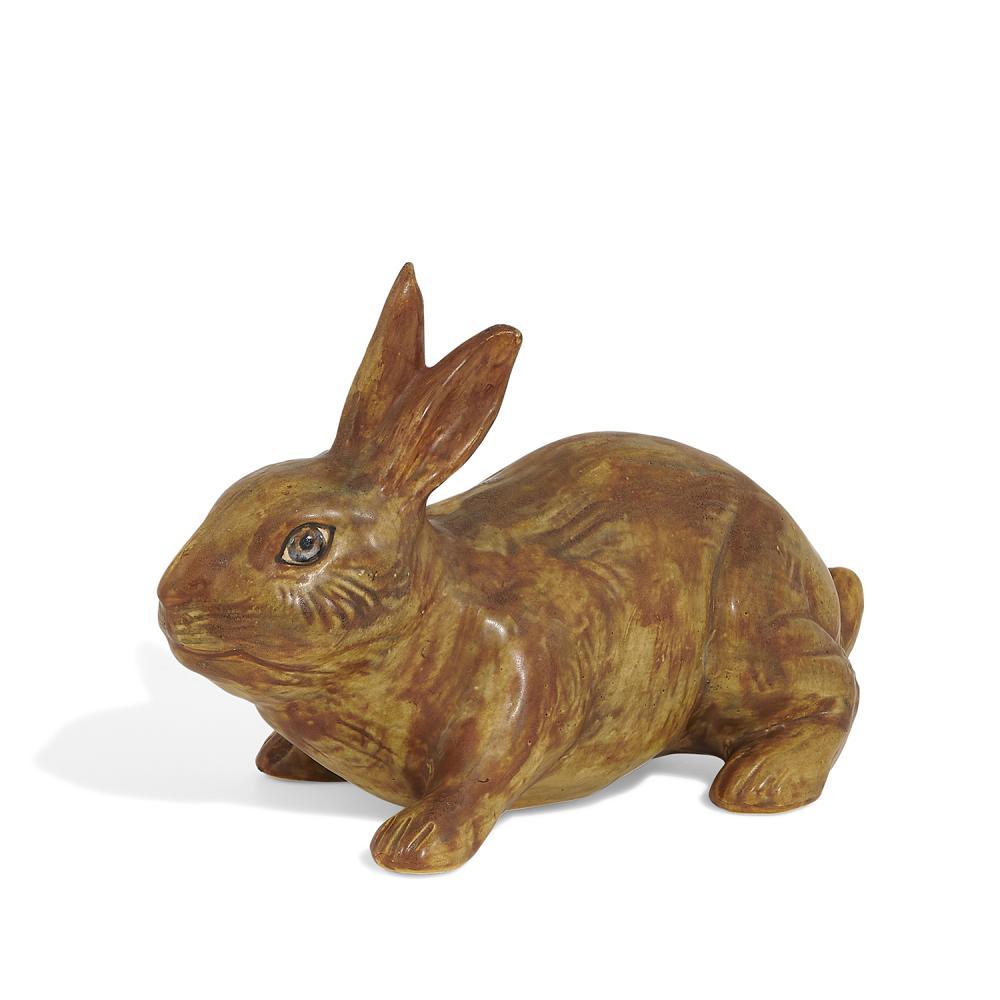 """Weller Pottery Co. earthenware Muscota rabbit garden figure in brown 11 1/4""""w x 5 3/8""""d x 7 7/8""""h"""