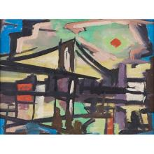 "Harry Shoulberg, (American, 1903-1995), The Bridge No. 9, oil on board, 9"" x 12"""