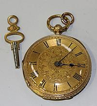 An 18ct gold cased keywind open-faced fob watch