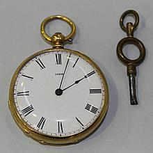 A gold cased keywind open-faced lady's fob watch