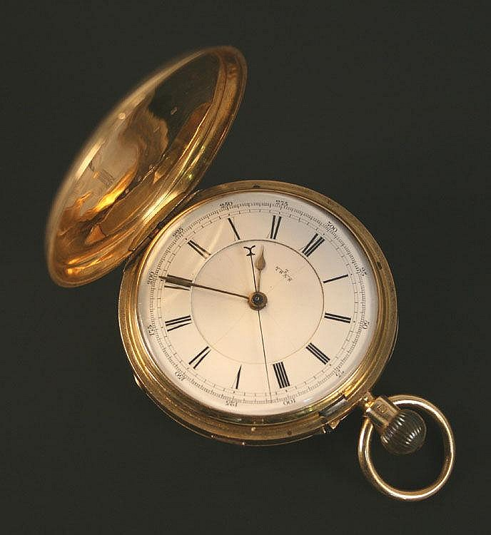 An 18ct gold keyless wind hunting cased