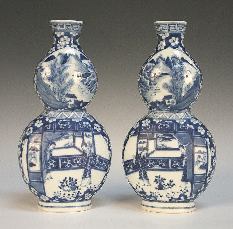 A pair of Chinese blue and white porcelain double