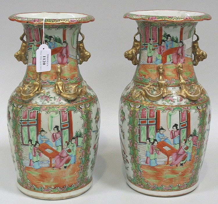 A near pair of Chinese Canton famille rose