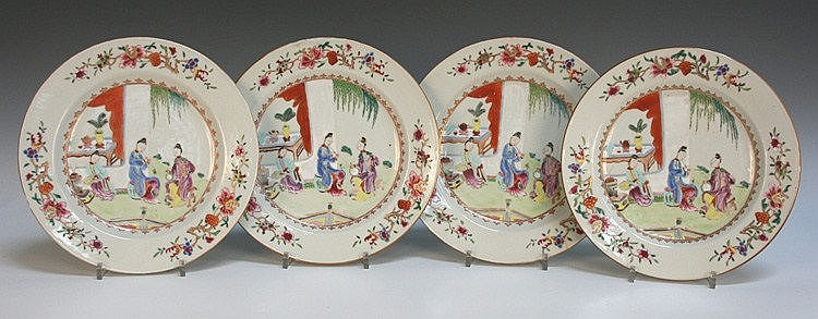 A set of four Chinese famille rose export