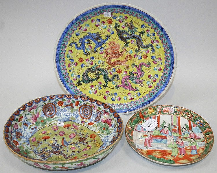 A Chinese yellow ground porcelain circular dish,
