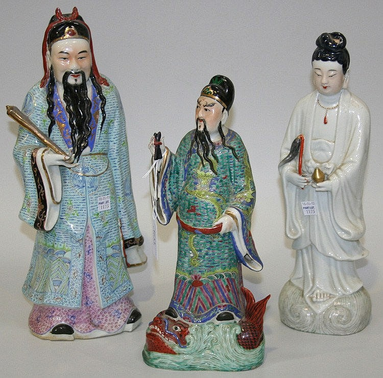 A Chinese famille rose enamelled biscuit porcelain