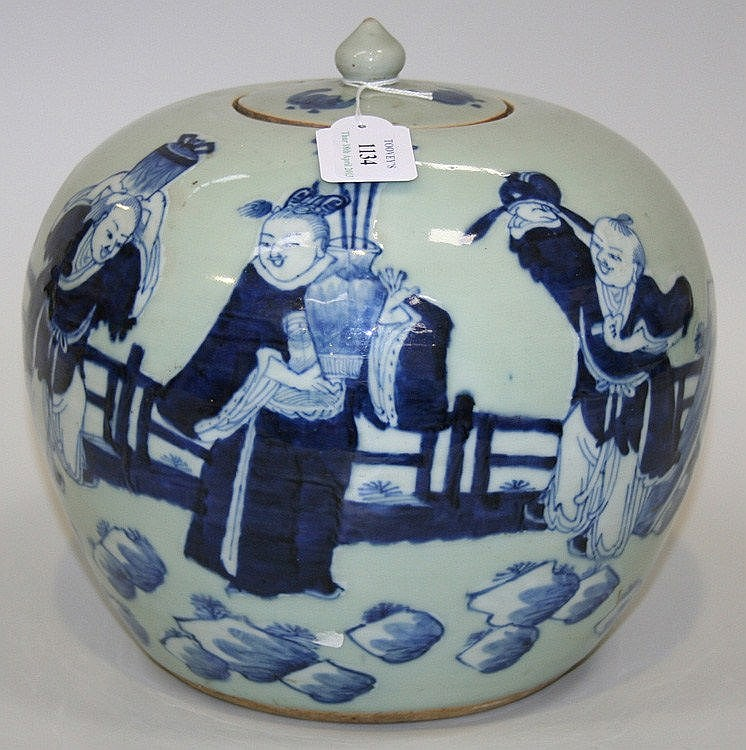 A Chinese blue and white celadon ground porcelain