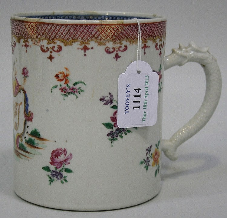 A Chinese famille rose export porcelain mug,