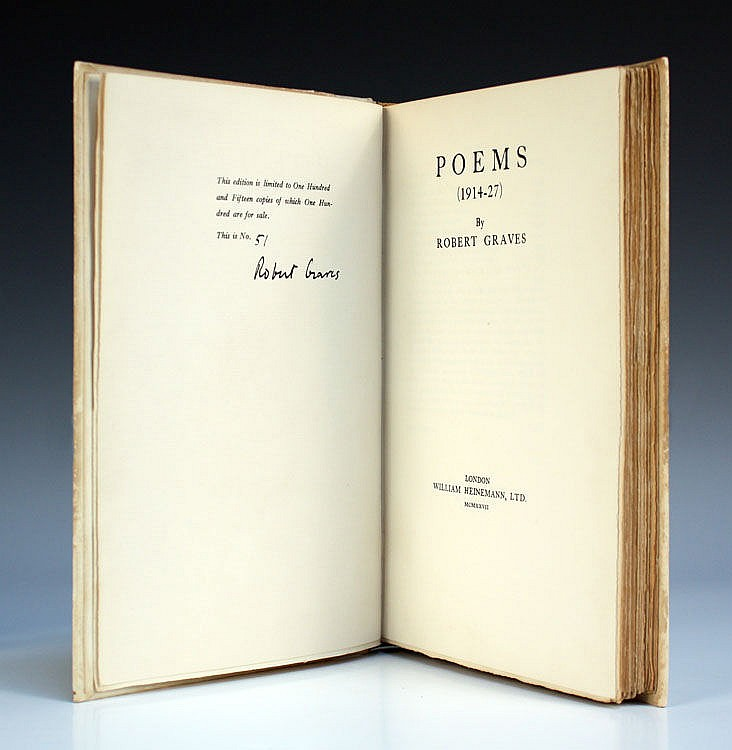 GRAVES, Robert. Poems (1914-27). London: William