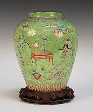 A Chinese famille rose green ground porcelain