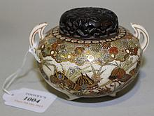 A Japanese Satsuma earthenware koro and hardwood