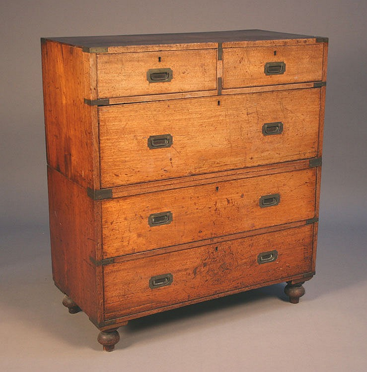 A Victorian teak campaign chest, with brass