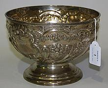 An Edwardian silver rose bowl, embossed with