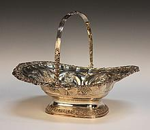 A George IV silver basket with reeded and foliate