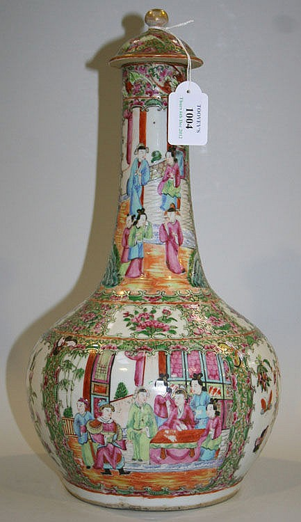 A Chinese Canton famille rose porcelain bottle