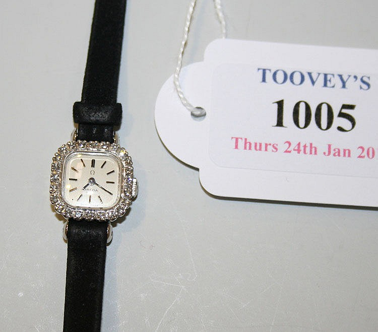 An Omega 18ct white gold and diamond set lady's