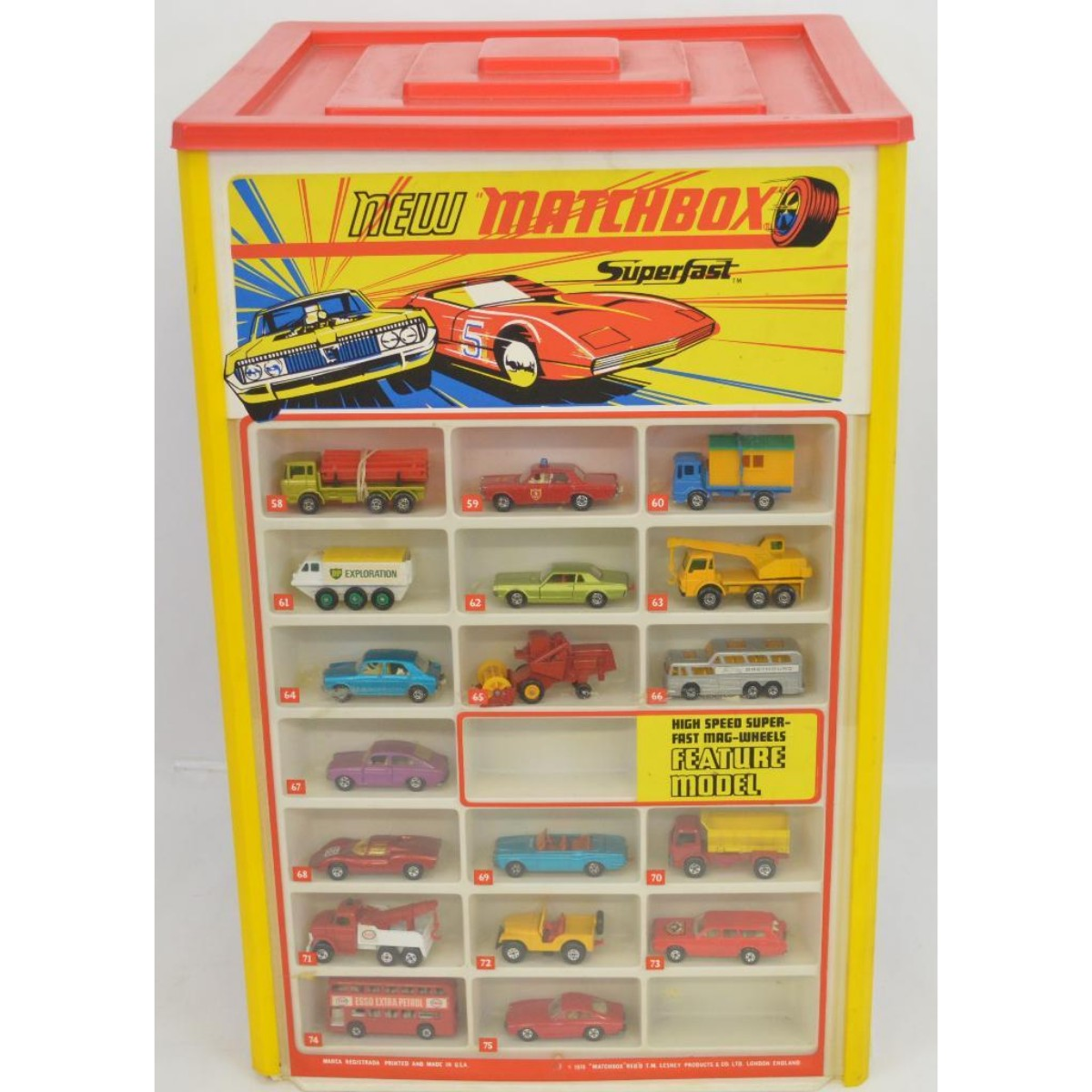 1970 Matchbox Lesney Superfast Transitional Store Display Complete w/ Cars